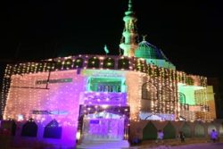 KARACHI: A view of illuminated Kinz ul Iman mosque ahead of Eid-Milad-ul-Nabi, the birthday of Prophet Mohammad (PBUH), in Karachi, Pakistan, 09 November 2019. Eid-Milad-ul-Nabi is celebrated by Muslims all over the world every year on 12th of the Rabi-ul-Awal, the third month of the Islamic Calendar